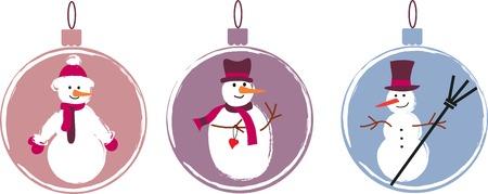 new year's cap: three decoration   Christmas balls with snowmen. seasonal card Illustration