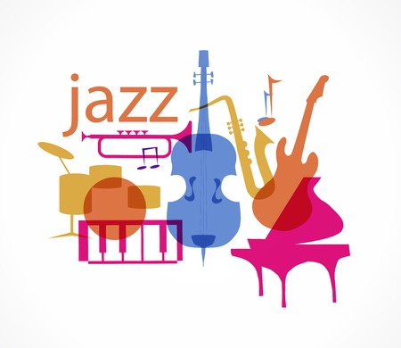 Colorful Jazz instruments set. isolated  on white. illustration Vectores