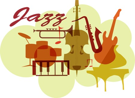 Colorful Jazz instruments set. isolated  on white. illustration Ilustração