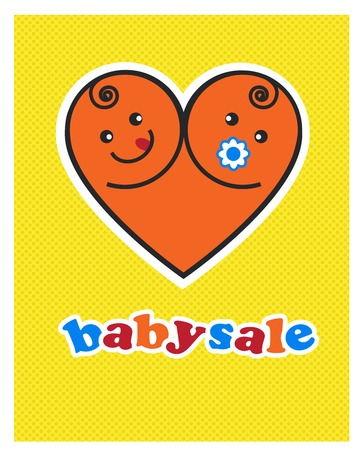 Vector image of smiling  baby boy and girl  arranged as heart Vector