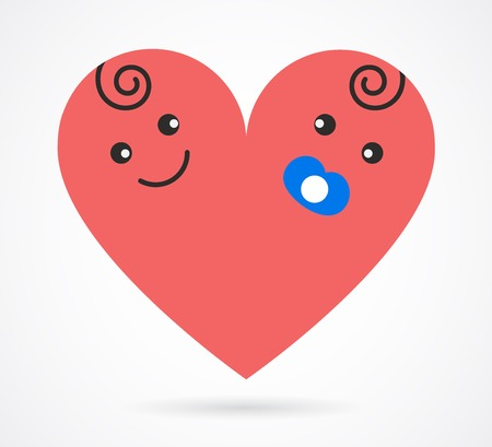 baby birthday: Vector image of smiling  baby boy and girl  arranged as heart