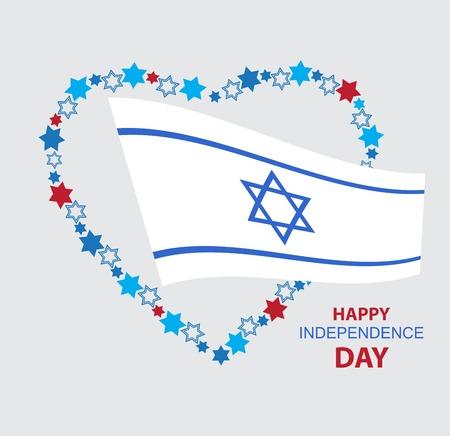 флагшток: Сердце Давида звезды с Израилем флагом