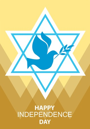 independence day: independence day of Israel, david  stars and peace white dove Illustration