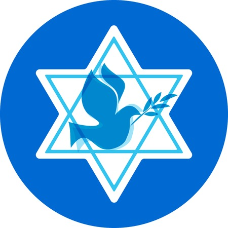 bird of israel: independence day of Israel, david  stars and peace white dove Illustration