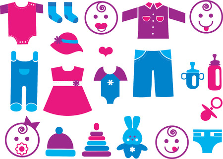 nappies: Baby icons set for boys and girl