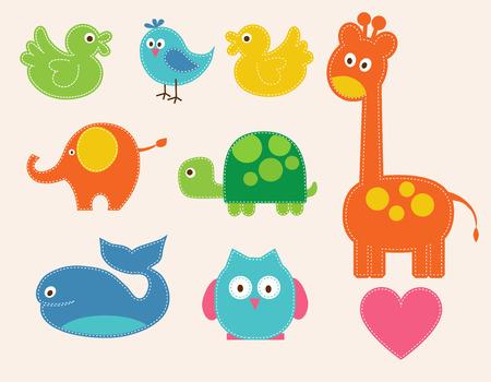leon de dibujos animados: Vector coloridos animales establecen para los niños. ilustración
