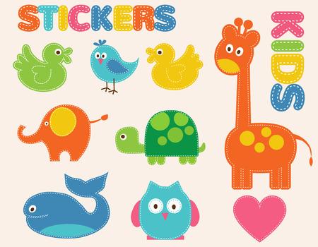 leon caricatura: Animales coloridos del vector fijadas. Pegatinas para ni�os Vectores