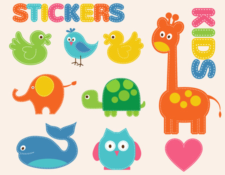 baby turtle: Vector colorful animals set. Stickers   for kids