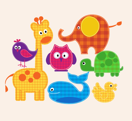 Vector colorful animals set  for kids. illustration
