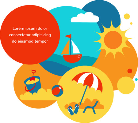 SUMMER TIME. yellow beach , blue sea, sunny  sun Vector