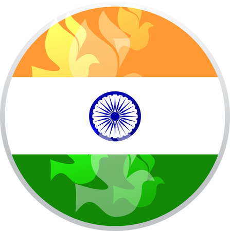 illustration of wavy Indian flags with monument,  independence day Vector