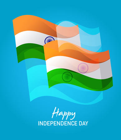 Wind Wave India Flags in on Blue ,  happy independence day Vector