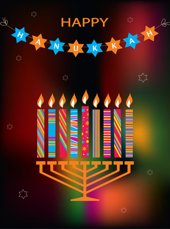 hanukah: jewish holiday Hanukkah with menorah on abstract background Illustration