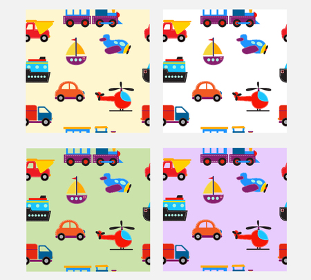 seamless pattern: seamless pattern with cute baby transport toys. illustration Illustration