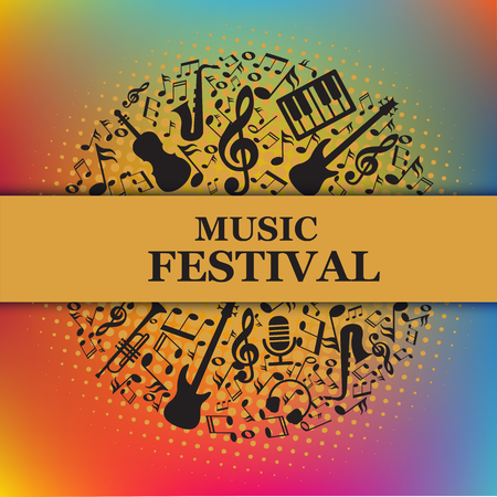 futuristic background: music festival,  colorful background with notes and instruments