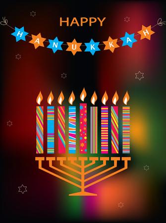 jewish holiday: jewish holiday  Hanukkah with menorah on abstract background Illustration