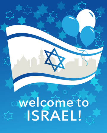 zion: welcome to Israel. flag, david  star and peace white dove
