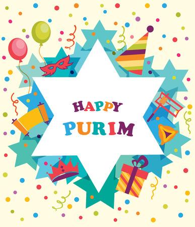 jewish star: David star with  objects of Purim holiday, Jewish holiday