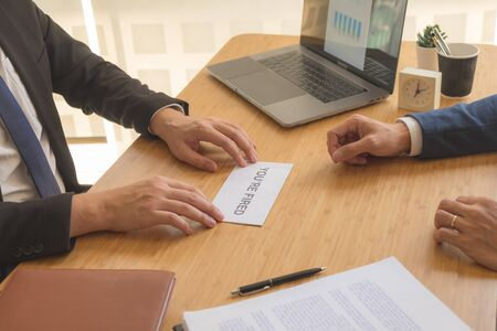 Employees with resignation letter or resignation handover for human resource managers.