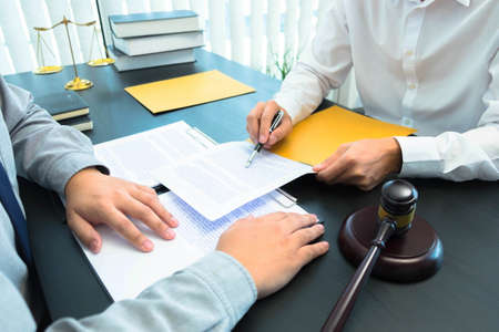 Consult with lawyers about company registration, trademark registration, criminal cases, land lawsuits, inheritance lawsuits, wills, labor. Stock Photo
