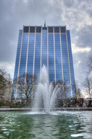 Skyscraper and water fountain in Brussel, Belgium
