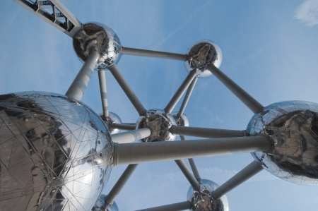 The famous Atomium located in Bruxelles. It is a monument, designed by André Waterkeyn, originally built for Expo '58, the 1958 World's Fair. Stock Photo - 19465670