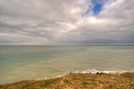 Cloudy landscape on the cliffs in Nord-Pas-de-Calais photo