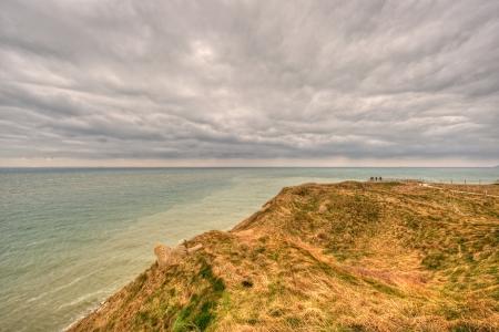 Cloudy landscape on the cliffs in Nord-Pas-de-Calais photo