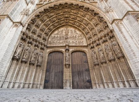 Detail of the front fasade of the Cathedral of Our Lady, the centerpiece of Antwerp, Belgium photo