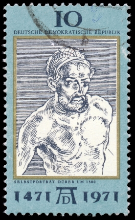 durer: DDR - CIRCA 1971  a stamp printed in DDR shows Self-Portrait, by Durer, 500th anniversary of the birth of Albrecht Durer, painter and engraver, circa 1971