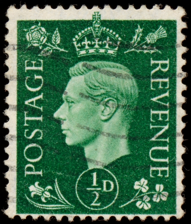 dominions: UK - CIRCA 1950  A stamp printed in UK shows image of the George VI  Albert Frederick Arthur George  was King of the United Kingdom and the Dominions of the British Commonwealth, circa 1950