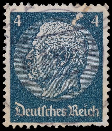 reich: GERMANY - CIRCA 1933  A stamp printed in Germany shows portrait of Paul von Hindenburg - 2nd President of German Reich, from series  85th birthday of von Hindenburg , circa 1933