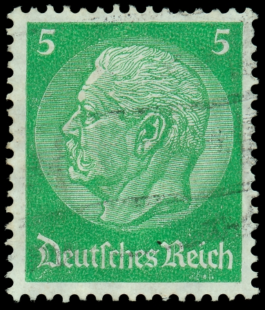 GERMANY - CIRCA 1933  A stamp printed in Germany shows portrait of Paul von Hindenburg - 2nd President of German Reich, from series  85th birthday of von Hindenburg , circa 1933