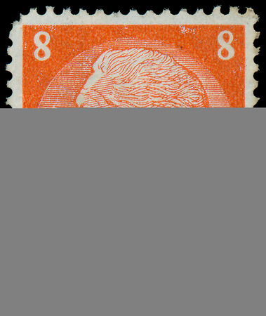 hindenburg: GERMANY - CIRCA 1933  A stamp printed in Germany shows portrait of Paul von Hindenburg - 2nd President of German Reich, from series  85th birthday of von Hindenburg , circa 1933