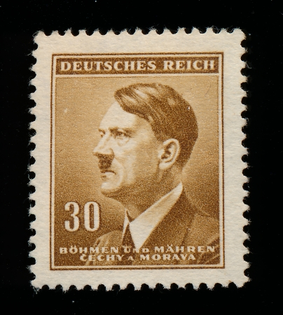 protectorate: GERMANY - CIRCA 1942  A stamp printed in The Protectorate Czech and Moravia shows portrait of Adolf Hitler, series, circa 1942  Editorial
