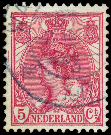 wilhelmina: NETHERLANDS - CIRCA 1898  A stamp printed in Netherlands shows portrait of Queen Wilhelmina - series  Queen Wilhelmina , circa 1898