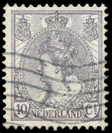 NETHERLANDS - CIRCA 1898  A stamp printed in Netherlands shows portrait of Queen Wilhelmina - series  Queen Wilhelmina , circa 1898