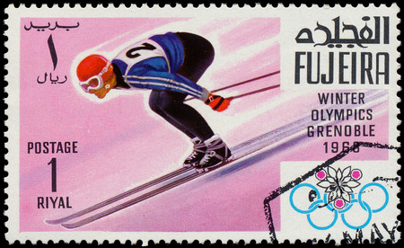FUJEIRA - CIRCA 1968  a stamp printed by FUJEIRA shows Winter Olympic Games in Grenoble, series, circa 1968