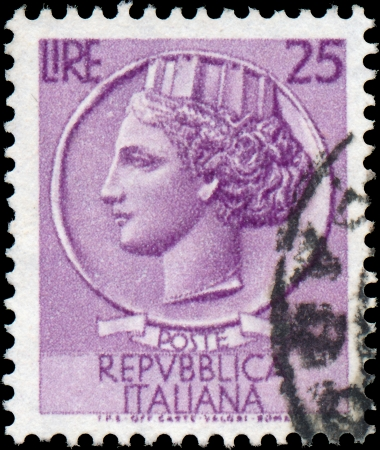 turreted: ITALY - CIRCA 1953  A stamp printed in Italy shows Italia Turrita, series, circa 1953