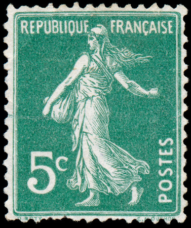 FRANCE - CIRCA 1906  stamp printed by France shows sowing, circa 1906