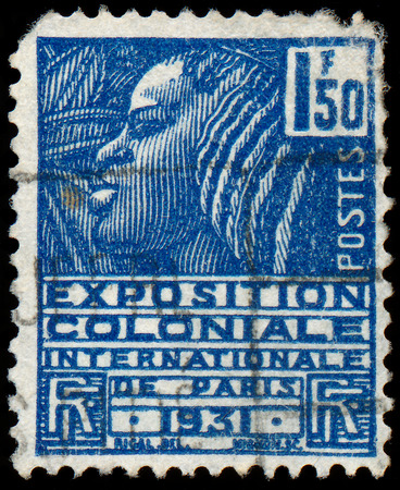FRANCE - CIRCA 1930  A stamp printed in France shows Woman of the Fachi tribe, with inscription and name of series  International Colonial Exhibition in Paris, 1931 , circa 1930