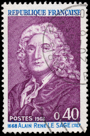 novelist: FRANCE - CIRCA 1968  a stamp printed in the France shows Alain Rene LeSage, Novelist and Playwright, circa 1968  Editorial
