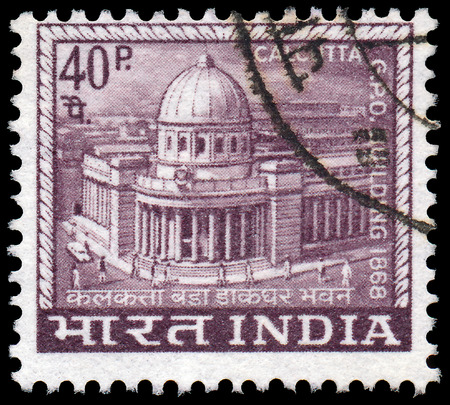 indian postal stamp: INDIA - CIRCA 1968  A stamp printed in India shows Main Post Office built in 1868 in Calcutta, circa 1968