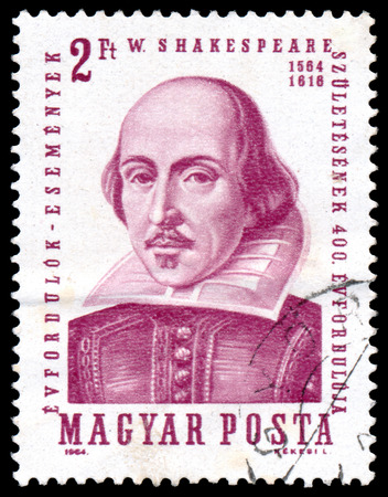 HUNGARY - CIRCA 1964  A stamp printed in Hungary shows image of William Shakespeare, the playwright, circa 1964