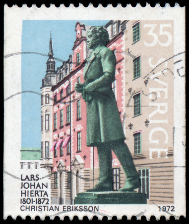ericsson: SWEDEN - CIRCA 1972: stamp printed by Sweden, shows Lars Johan Hierta by Christian Ericsson, circa 1972