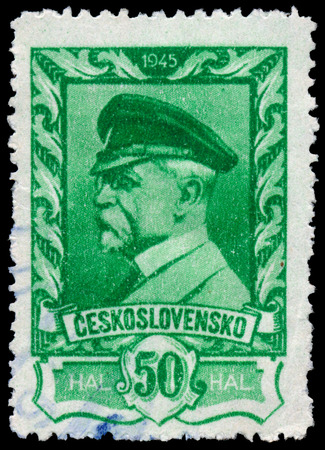 CZECHOSLOVAKIA - CIRCA 1945: stamp printed by Czechoslovakia, shows  President Masaryk, circa 1945  photo