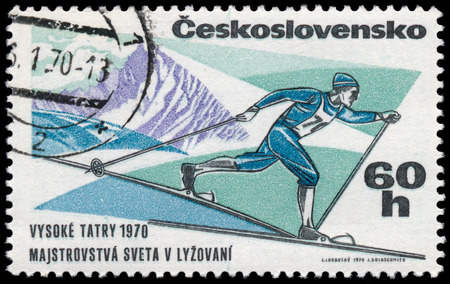 tatras: CZECHOSLOVAKIA - CIRCA 1970: A post stamp printed in Czechoslovakia shows skier, dedicated to the World Cup in skiing in High Tatras, series, circa 1970