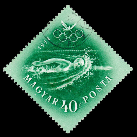 HUNGARY - CIRCA 1952  stamp printed by Hungary, shows swimming, devoted to the Olympic games in Helsinki, series, circa 1952