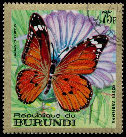circa: REPUBLIC OF BURUNDI - CIRCA 1968  A stamp printed in Burundi shows a butterfly Danais chrysippus , circa 1968