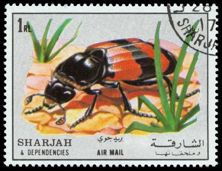 dependencies: SHARJAH AND DEPENDENCIES - CIRCA 1972  stamp printed by Sharjah and Dependencies, shows insect, circa 1972